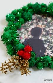 Homemade Pom Pom Decorations Diy Pom Pom Wreath Photo Ornament This Is Our Bliss