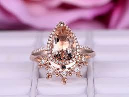 crown wedding rings 2 pcs 8x12mm pear cut morganite engagement ring 14k gold halo
