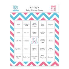 gender reveal baby shower chevron gender reveal personalized baby shower bingo cards
