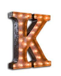 k vintage letter light with bulbs
