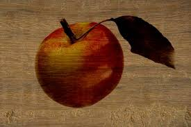 wood painting wood painting an apple on wooden surface