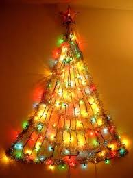 Christmas Trees With Lights String Light And Garland Wall Christmas Tree Christmas