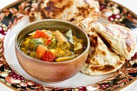 cuisine curry dhal and eggplant curry roti n rice