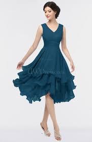 blue graduation dresses moroccan blue v neck zip up knee length ruching graduation