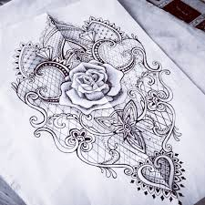 lace rose baroque mantra tattoo sketch woman something like this
