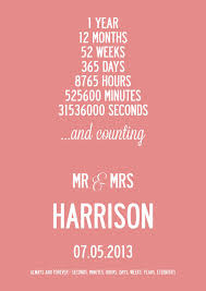 personalised 1st year wedding anniversary print by i london