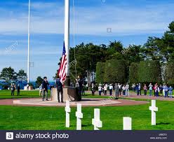 Ceremony Flag Normandy American Cemetery And Memorial Flag Lowering Ceremony