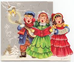 vintage greeting card christmas carolers old fashioned die cut