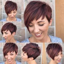 women u0027s red highlighted graduated asymmetrical pixie with full