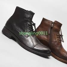mens cowboy retro leather lace up dress ankle boots shoes business