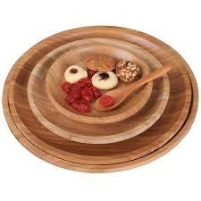 plateaux cuisine en bois plat plats vaisselle japonais collation aliments ronde