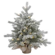 2ft pre lit white flocked pine artificial tree with