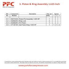 11 03 piston u0026 ring assembly 1 625 inch for 15t2 ir 15t2 parts