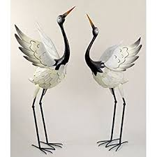 Lawn And Garden Decor Amazon Com Bits And Pieces Red Crowned Cranes Metal Garden