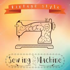 retro sewing machine with floral ornament on colorfull