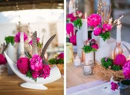 Feather And Flower Centerpieces by Pink Wedding Centerpieces Mywedding