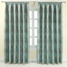 homescapes duck egg blue jacquard curtain pair embroidered trees