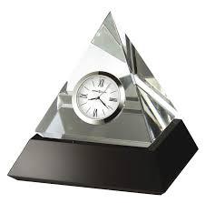 645721 howard miller crystal glass pyramid tabletop clock on black base