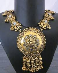 boho gold pendant necklace images Long gypsy antique gold banjara gothic rabari fashion bellydance jpg