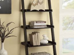 furniture 5 tier leaning ladder shelf in black for home