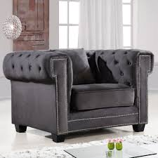 Gray Nailhead Sofa by Meridian Furniture 614grey C Bowery Grey Tufted Velvet Arm Chair W