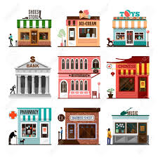 set of flat shop building facades icons vector illustration