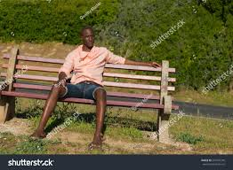 Wooden Park Bench African Black Man Sitting On Wooden Stock Photo 251676349