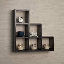 amazon com stepped six cubby decorative black wall shelf home