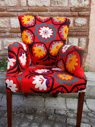 Suzani Fabric Chair Extraordinarily Handmade Suzani Fabric Upholstery Vintage Armchair