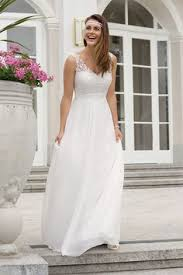 brautkleid ohne schleppe weiß spitze plissee ärmellos elegantes maxikleid rückenfreies