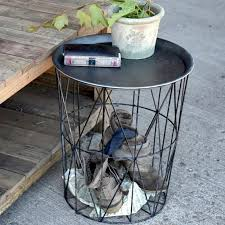 tray top end table tray top wire basket table a cottage in the city