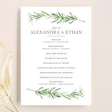 simple wedding program simple sprigs unique wedding programs by erin deegan minted