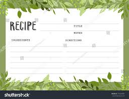 recipe card cookbook template page stock vector 726924085