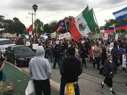 Mexicans Flags Latinos Bernie Sanders Fans Protest Hillary Clinton In L A