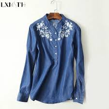 denim blouses denim tops 2018 embroidery shirts stand collar slim