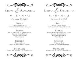 wedding menu templates wedding menu template 1 wedding menu templates