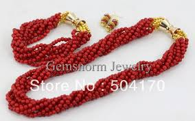 bridal beads necklace images Indian bridal jewelry set strands african coral beads jewelry set jpg