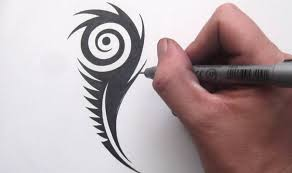 how to draw a peacock feather tribal design style