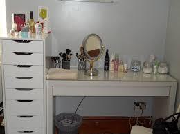 Glass Makeup Vanity Table Furniture Modern White Glass Top Makeup Vanity Table Featuring