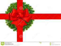 christmas ribbon bows ribbon bow and green christmas wreath stock image image of