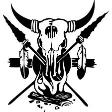 buffalo skull cross spears native american indian wall sticker