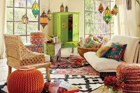 chindi rug family room eclectic with bright colors decor