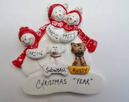 personalized family of 5 ornament with dogs or cats added