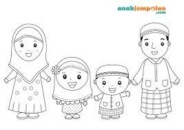 muslim family coloring anak jempolan