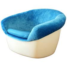 Turquoise Chairs Leather Unique Space Age Lounge Chair In Fiberglass Blue Velvet And