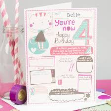 personalised u0027s 4th birthday card by tandem green