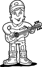 guitar player playing the guitar coloring page wecoloringpage