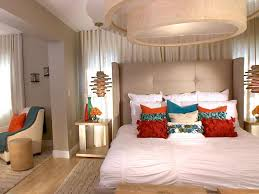Red And White Modern Bedroom Beautiful White Contemporary Bedroom Showing Round Pop Ceiiling