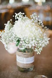 baby s breath centerpiece white hydrangea and baby s breath in jar wedding centerpiece
