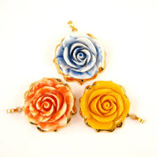 gold dipped roses large pendant carved resin with 24k gold plated